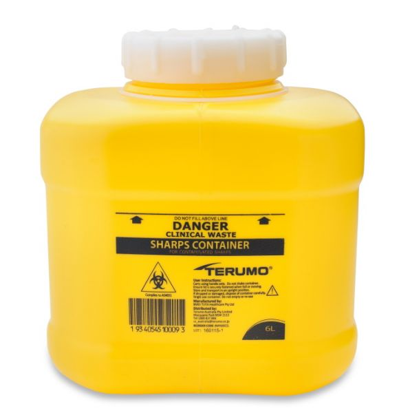 DISPOSABLE SHARPS CONTAINER YELLOW 6L, EACH