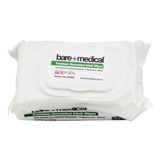 BARE MEDICAL ADULT MOIST WIPE 33x23, PKT 50
