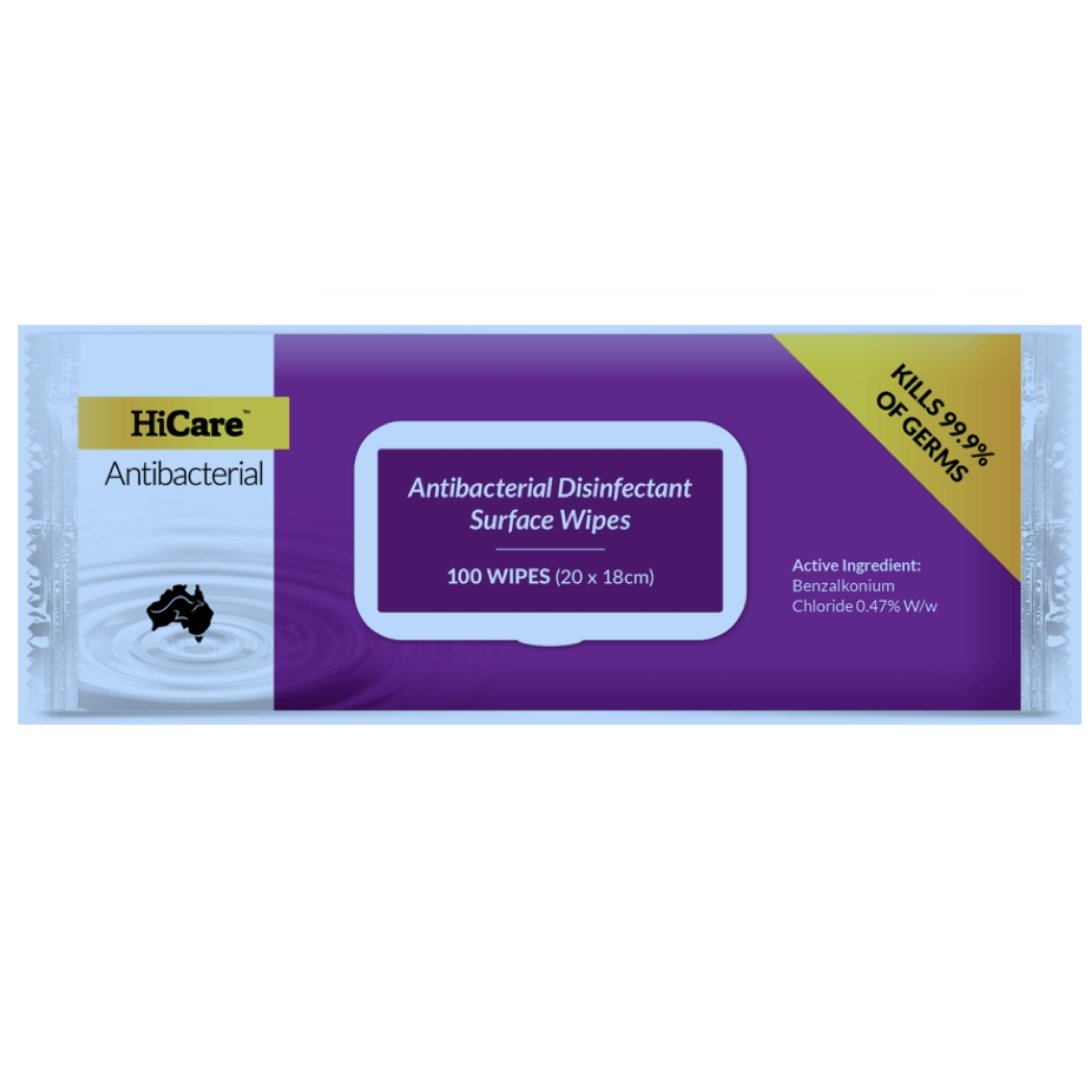 HICARE ANTIBACTERIAL DISINFECTANT SURFACE WIPES PKT 100