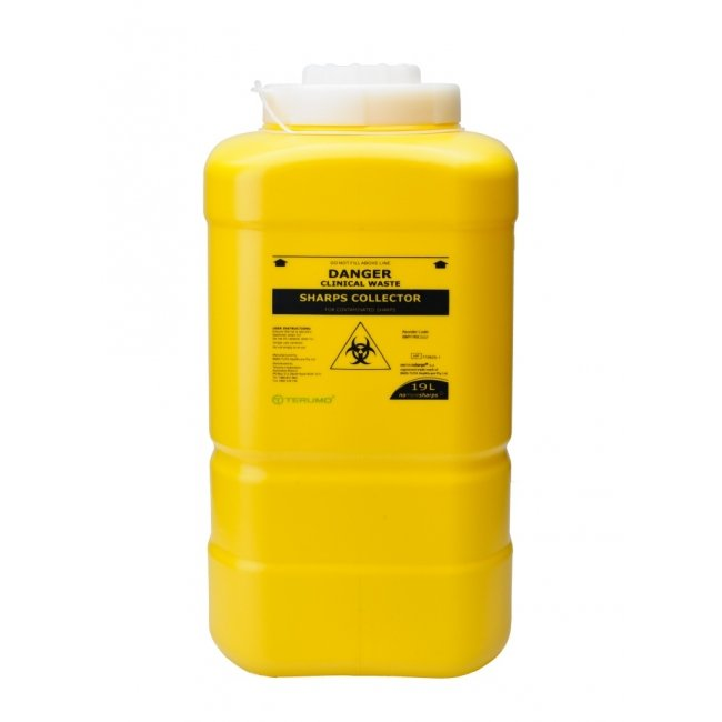 DISPOSABLE SHARPS CONTAINER YELLOW 19L, EACH