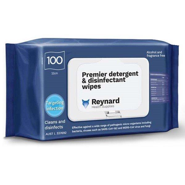 PREMIER DETERGENT & DISINFECTANT WIPES REYNARD - SOFT PACK, PKT 100