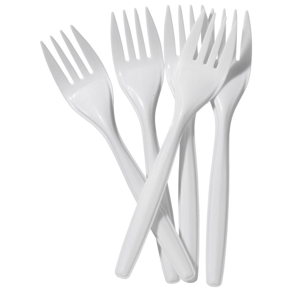 Forks, White Plastic, 152 mm, Pkt 100
