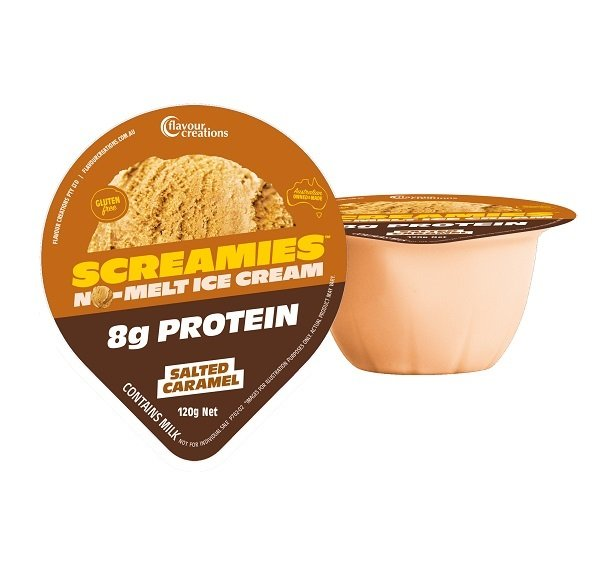 FLAVOUR CREATIONS SALTED CARAMEL ICE CREAM 2.4KCAL 120G, BOX 36