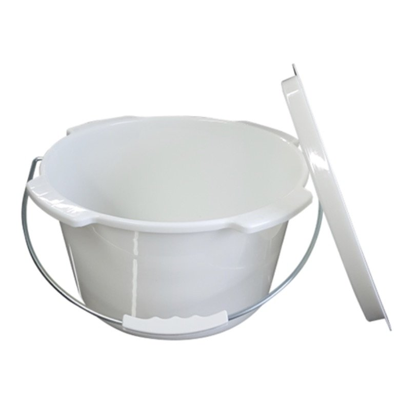 COMMODE BOWL AND LID WITH HANDLE, EACH