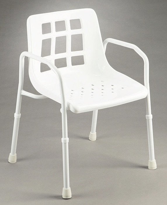 SHOWER CHAIR WITH ARMS WIDE 200KG ALUMINIUM, EACH