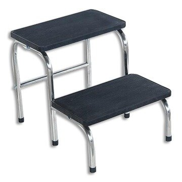 STEP STOOL DOUBLE GREY- EPOXY FRAME- RUBBER NON SLIP TREAD WEIGHT- 125KG, EACH