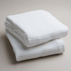 COTTON CELLULAR BLANKET- WHITE EACH