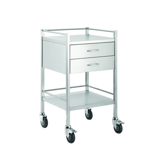 DRESSING TROLLEY STAINLESS STEEL 2 DRAW, EACH