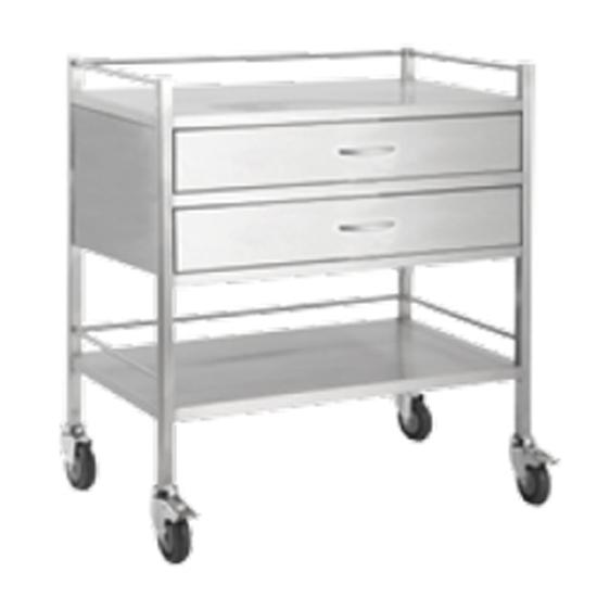 Dressing Trolley Stainless Steel 2 Draw Full Width, Each