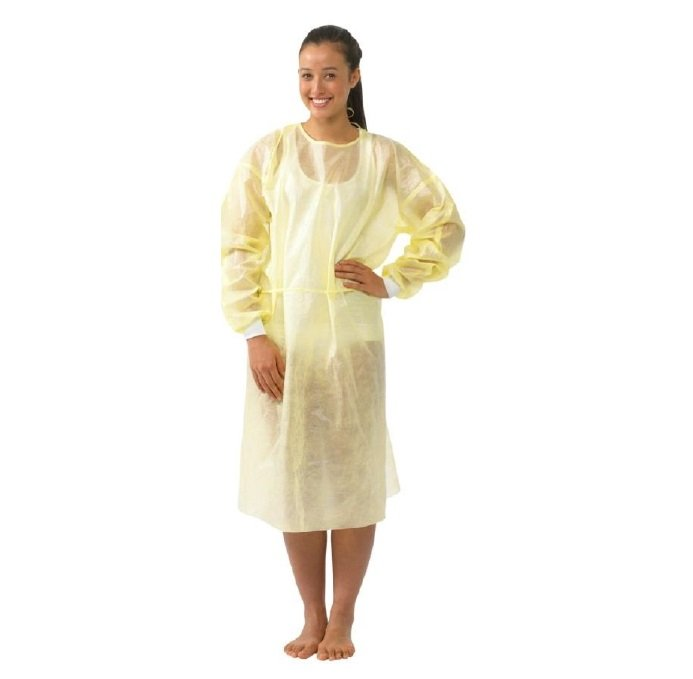 IMPERVIOUS ISOLATION GOWN YELLOW SURESAFE - KNITTED CUFF, BOX 50