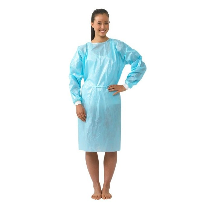 IMPERVIOUS ISOLATION GOWN BLUE SURESAFE - KNITTED CUFF, BOX 50