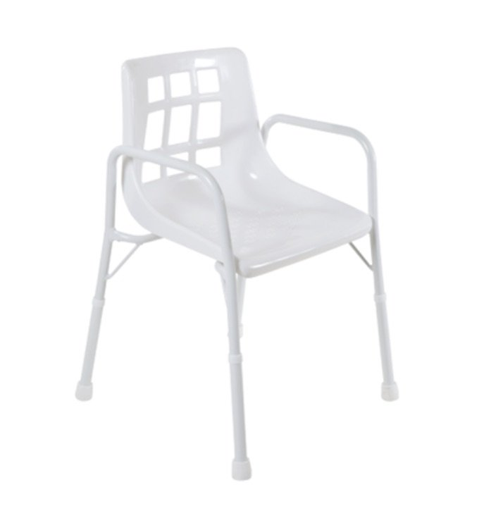Shower Chair w/Arms 470mm, Treated Steel 200kg