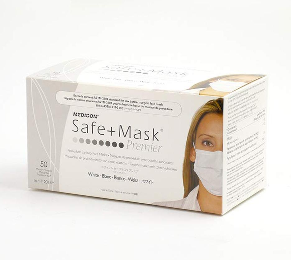 Face Mask Non-Wov 3ply White, Box 50 (Medicom)