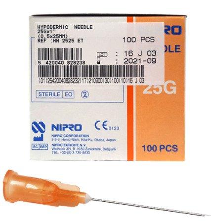 """NIPRO NEEDLE 25G (0.5mm)x1"""" (25mm), BOX 100"""