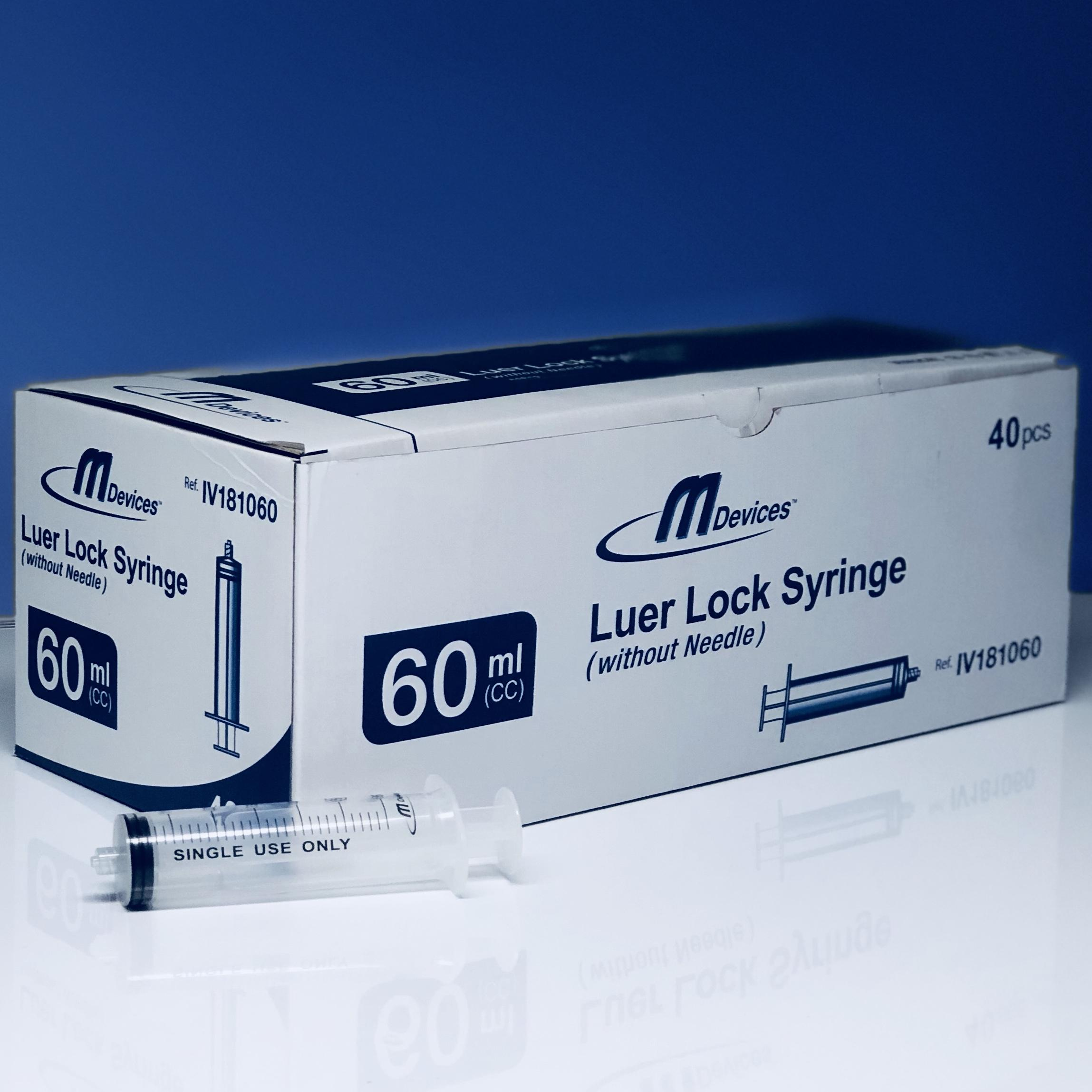 M Devices Syringe 60ml L-Lock, Box 40