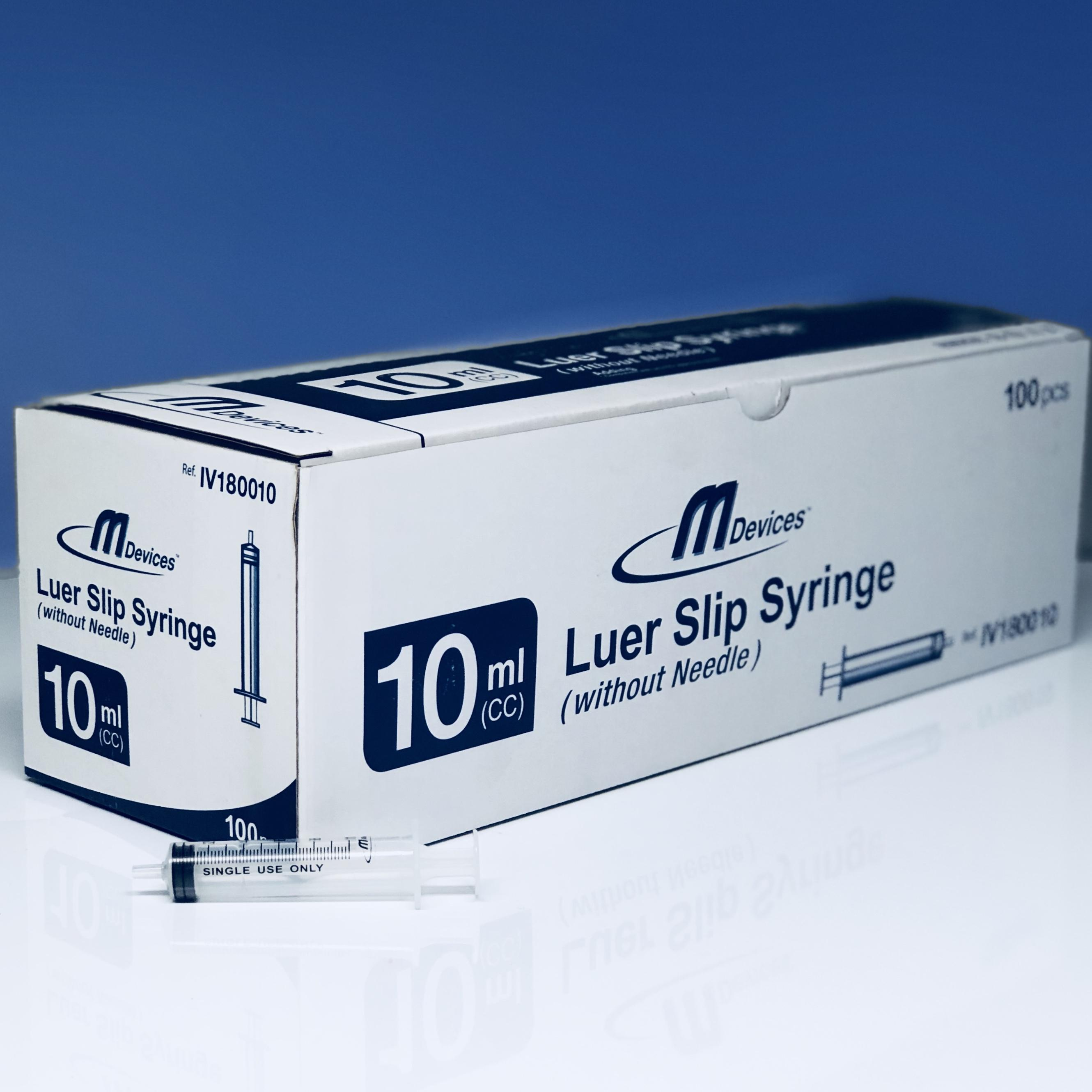 M Devices Syringe 10ml L-Slip, Box 100