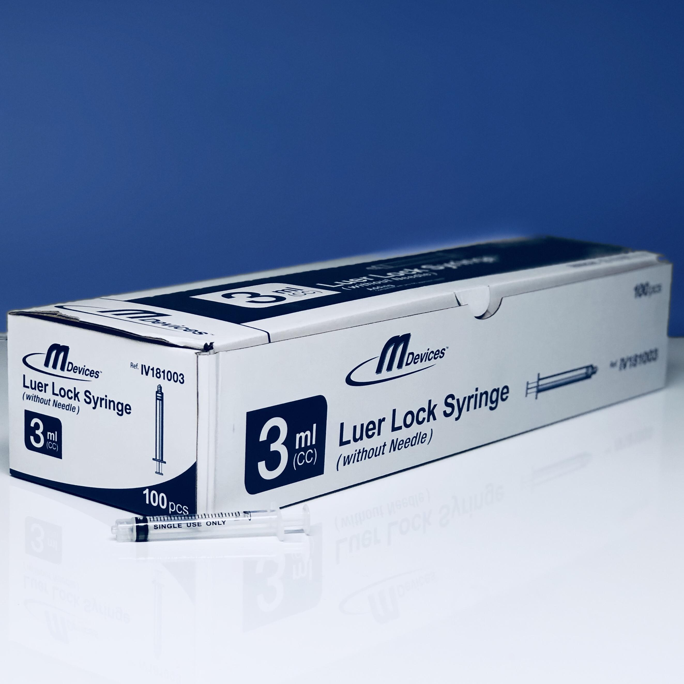 M Devices Syringe 3ml Leur Lock, Box/100