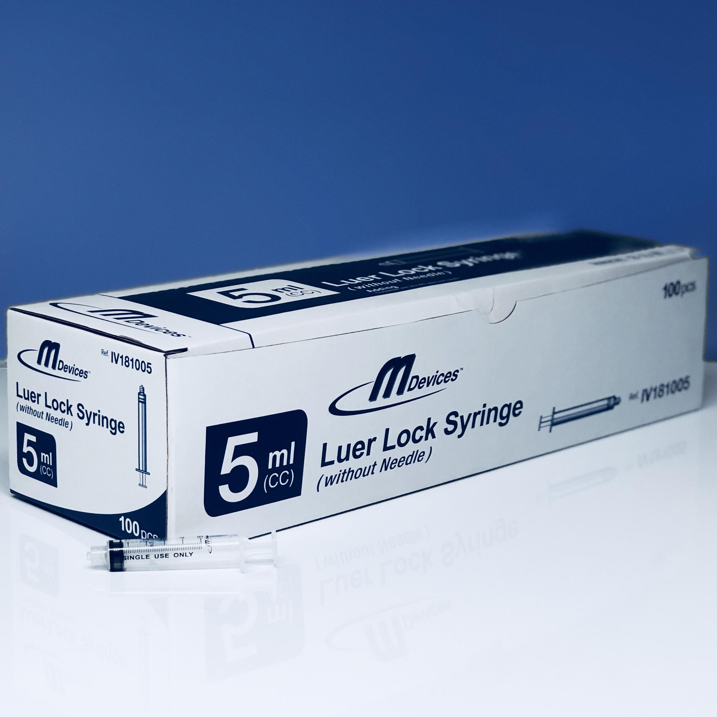 M Devices Syringe 5ml L-Lock, Box 100