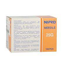 "NIPRO NEEDLE 25G (0.5 mm)x 1 ½"" (40 mm), BOX 100"