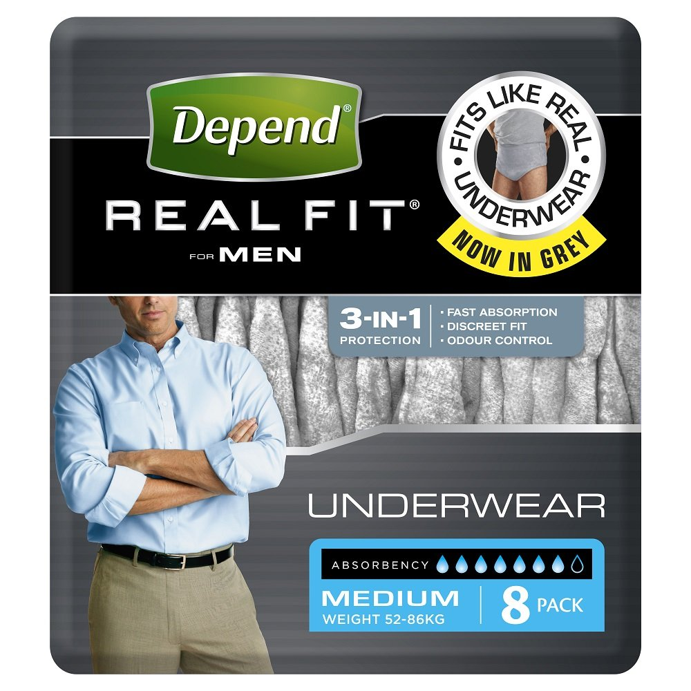 DEPEND REAL FIT UNDERWEAR MEN MEDIUM 19605, PKT 8