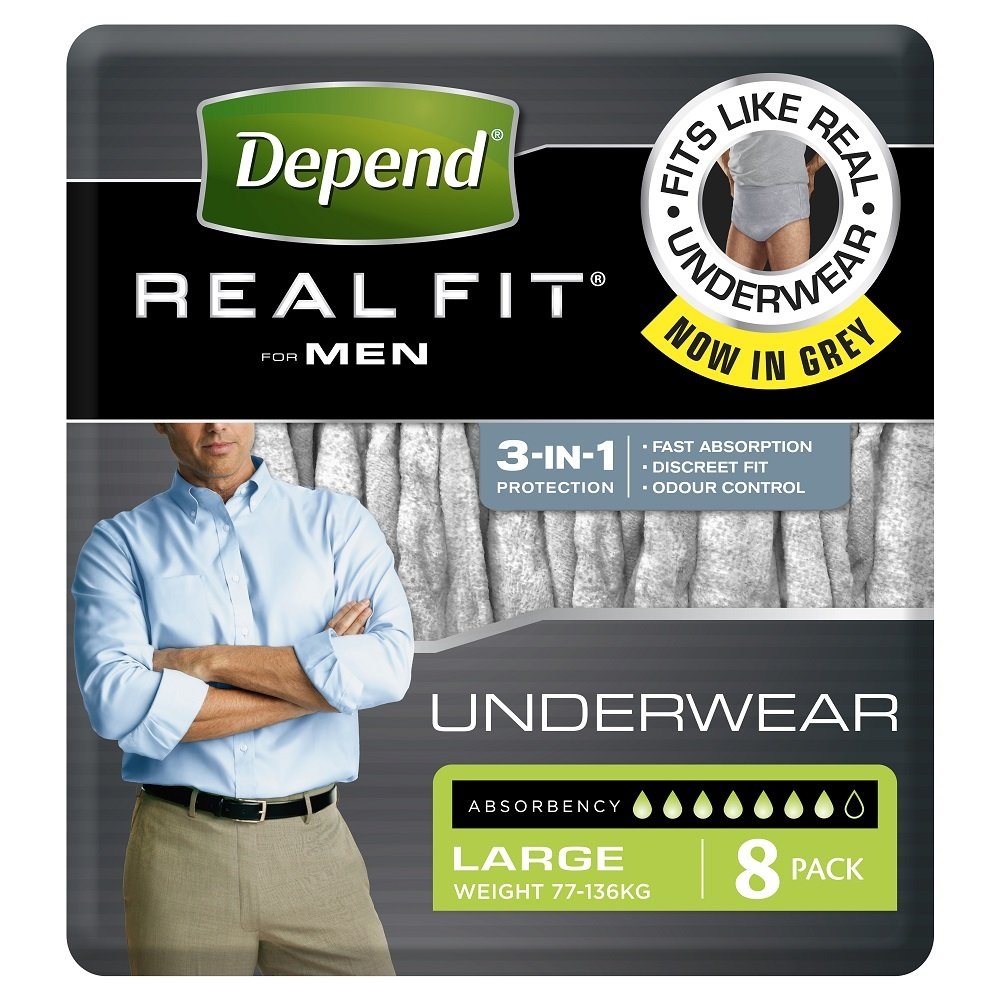 DEPEND REAL FIT UNDERWEAR MEN LARGE 19606, PKT 8