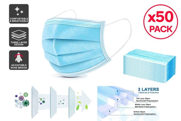 3 PLY SURGICAL FACE MASK VIRAFREE, 50 PACK