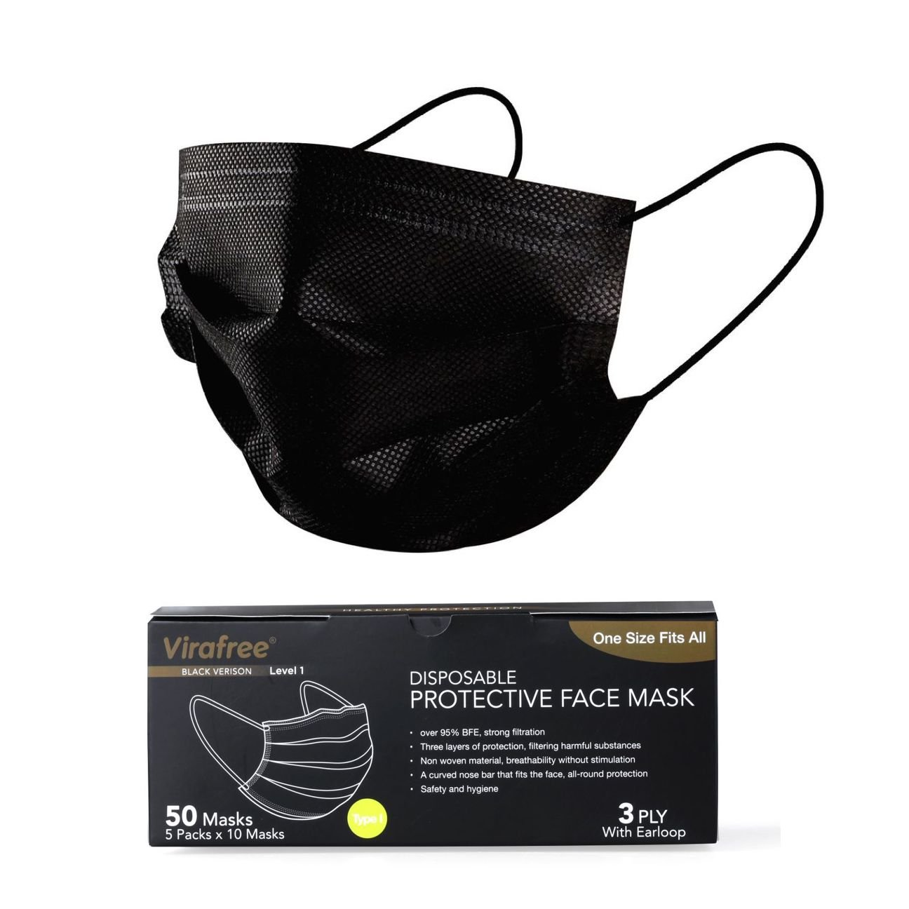 3 PLY SURGICAL FACE MASK VIRAFREE BLACK (50 PACK)