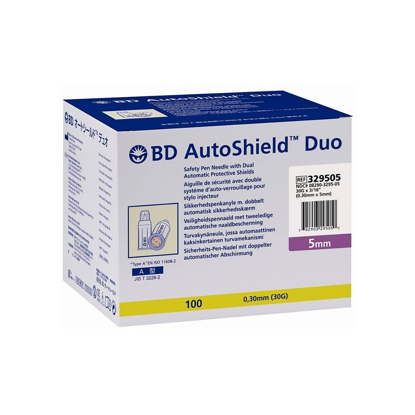 NEEDLE SAFETY PEN BD AUTOSHIELD DUO 30Gx5MM, BOX 100