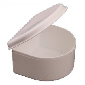 DENTURE BATH CUP & LID - WHITE EACH