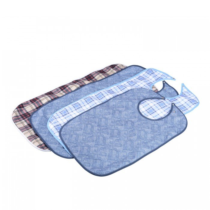 ADULT MEALTIME BIB BLUE PLAID 90CMx45CM, EACH