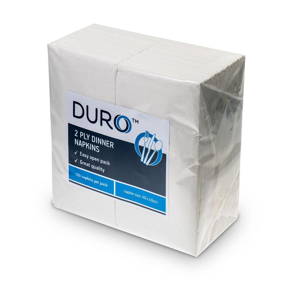 Duro Dinner Napkin White 2 Ply 40x40cm, 10Pkt/CTN, 100 Napkin/Pkt