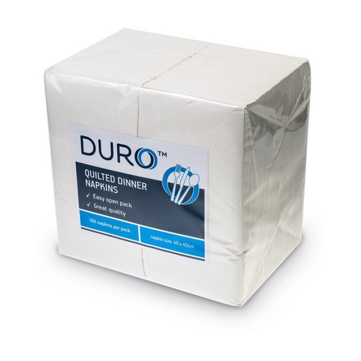 DURO QUILTED DINNER NAPKIN WHITE, 10 PACKETS OF 100, CTN 1000