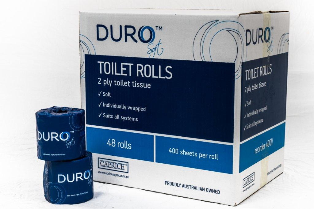 DURO TOILET PAPER ROLL 2PLY 400 SHEET, CTN 48