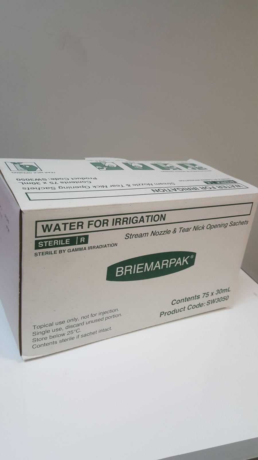 WATER FOR IRRIGATION SACHETS 30ML, BOX 75