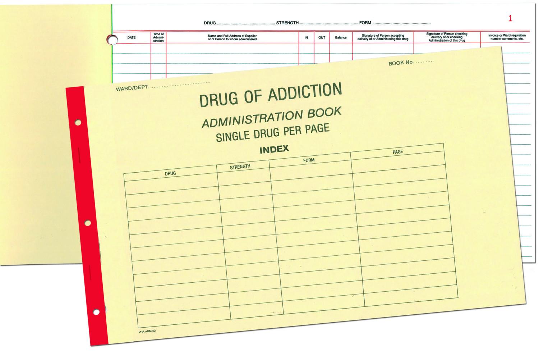 BLANK DRUG OF ADDICTION REGISTER BOOK SINGLE DRUGS, EACH