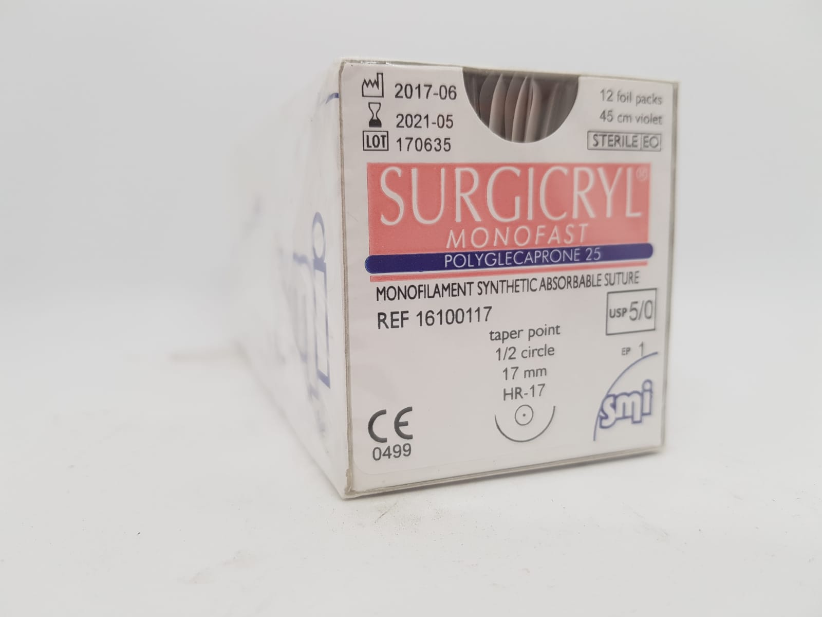 SUTURE SURGICRYL MONOFAST 5/0 DS17 45CM VIOLET BOX 12