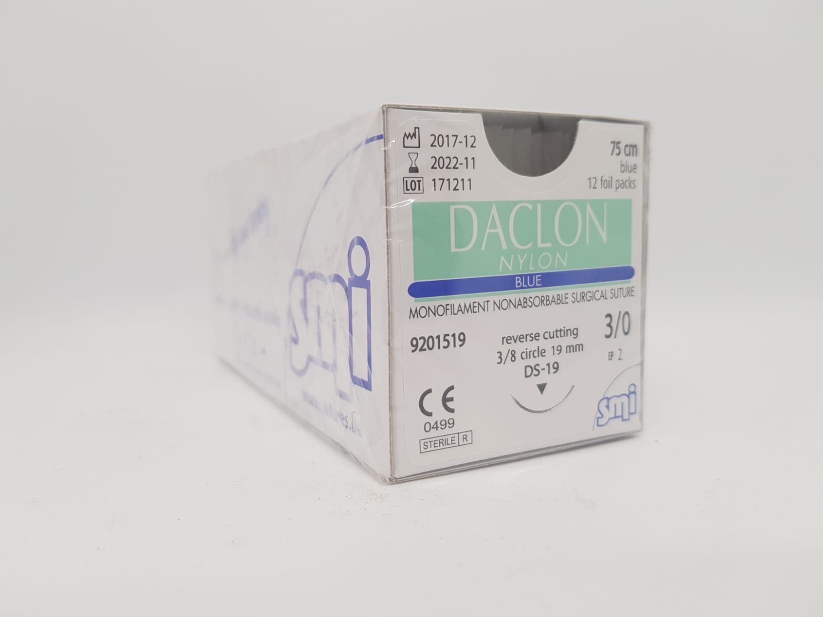 Suture Daclon 3/0 Circ DS19mm 75cm Blue, Box 12