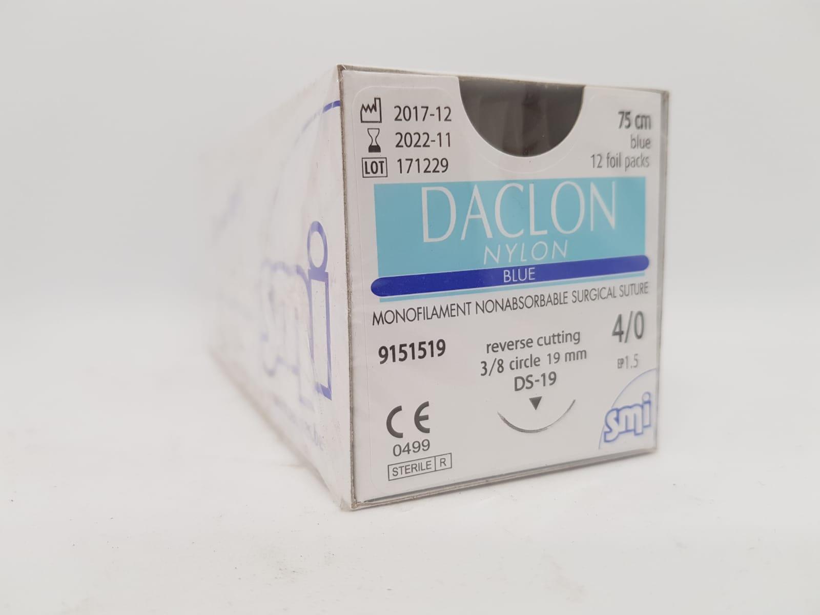 Suture Daclon 4/0 Circ DS19mm 75cm Blue, Box 12