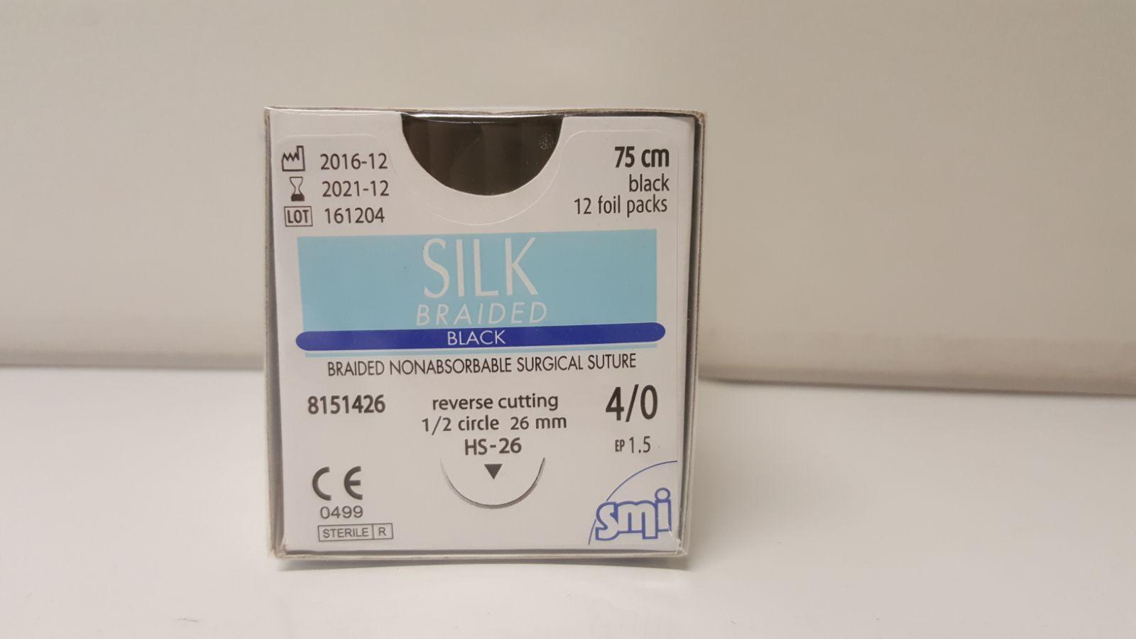 SUTURE SILK 4/0 RC1/2 HS26 75CM BLACK, BOX 12
