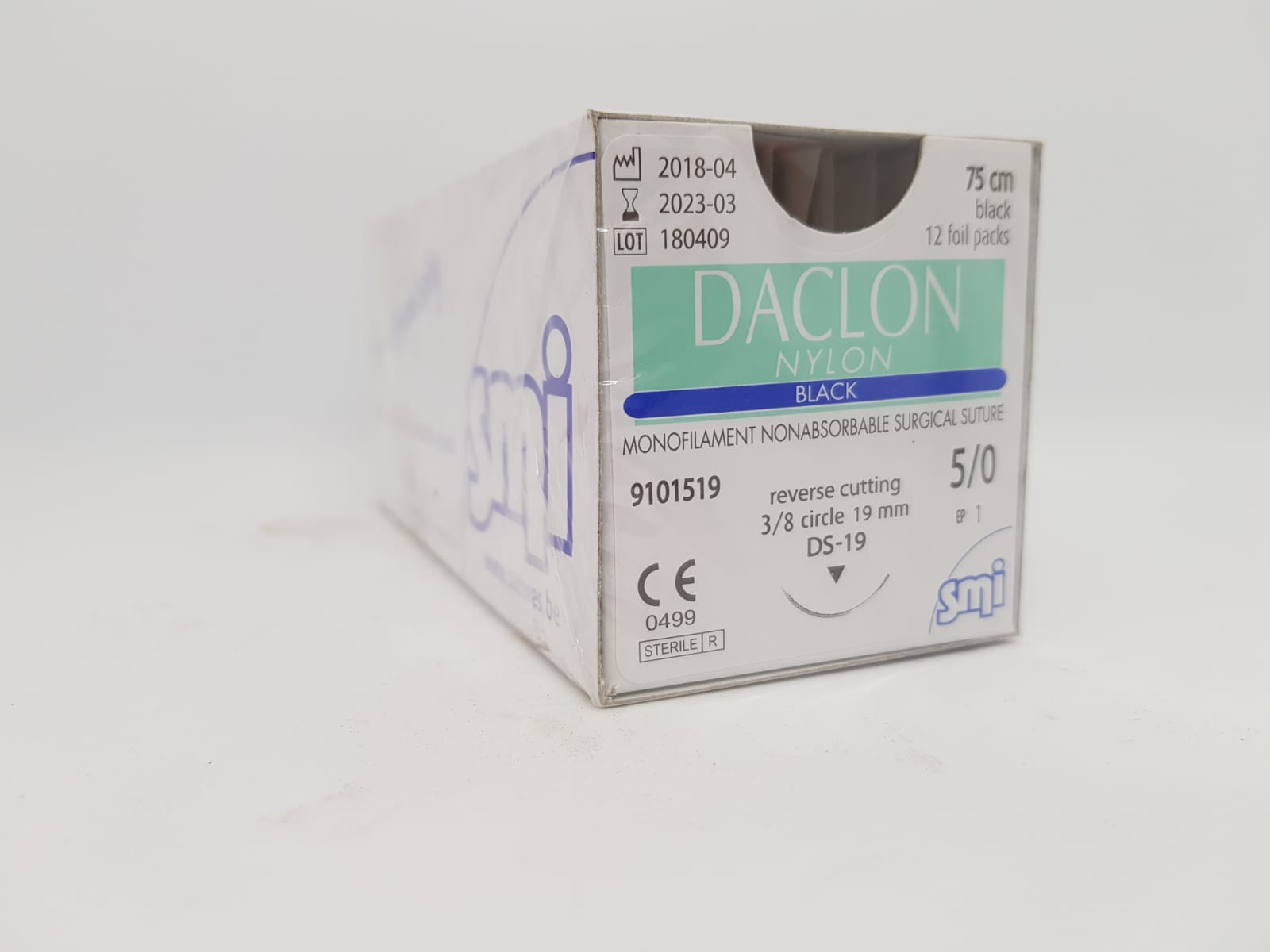 SUTURE DACLON 5/0 CIRC DS19 75CM BLACK, BOX 12
