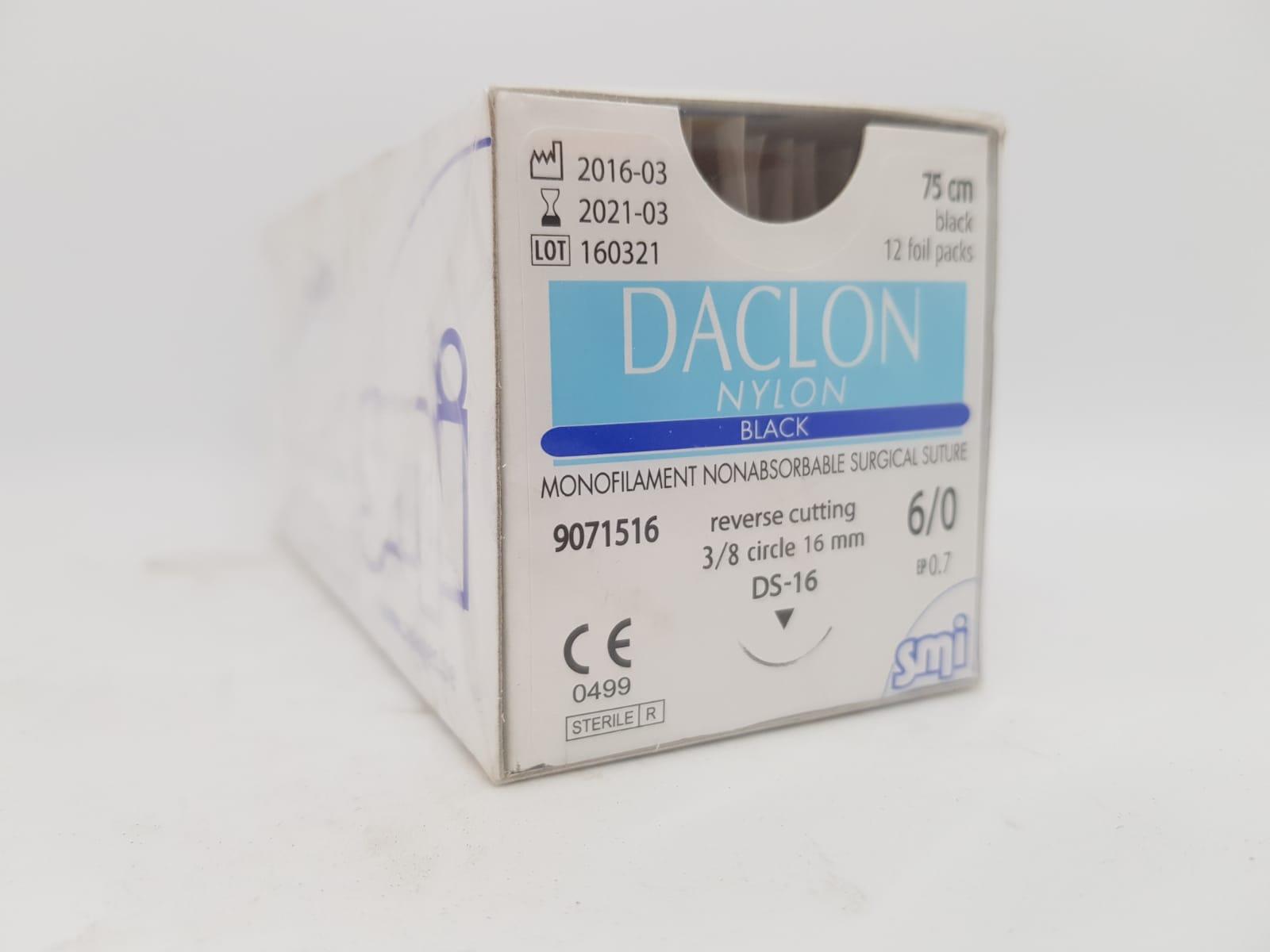 SUTURE DACLON 6/0 CIRC DS16 75CM BLACK, BOX 12