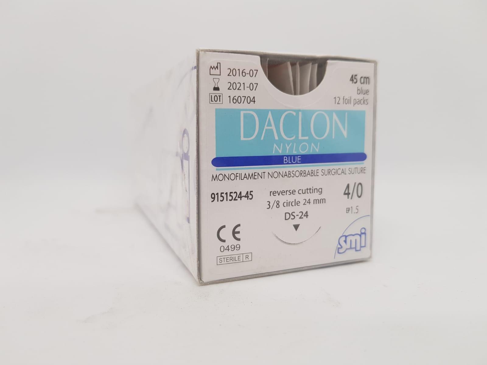 SUTURE DACLON 4/0 CIRC DS24 45CM BLACK, BOX 12