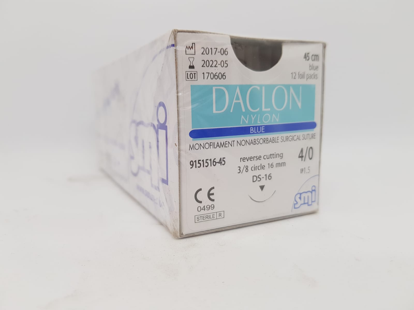 SUTURE DACLON 4/0 CIRC DS16 45CM BLACK, BOX 12