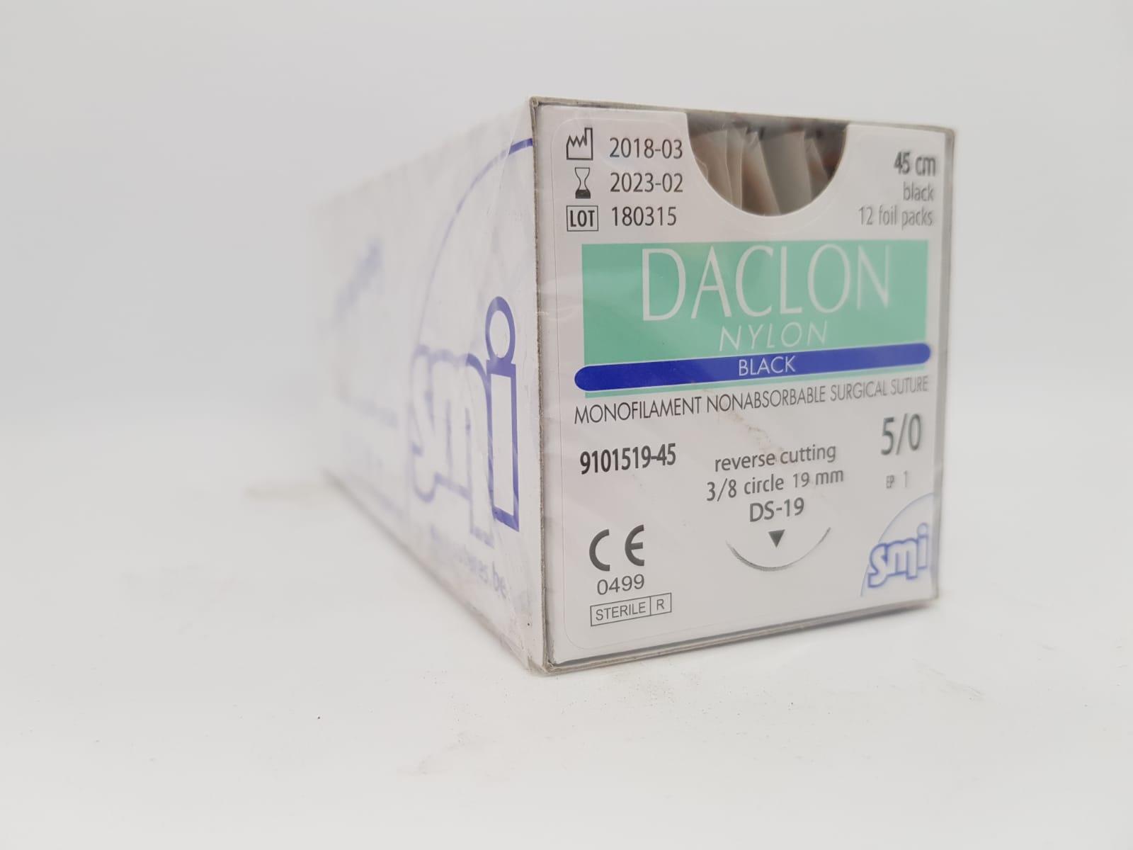 Suture Daclon 5/0 Circ DS19mm 45cm Black, Box 12
