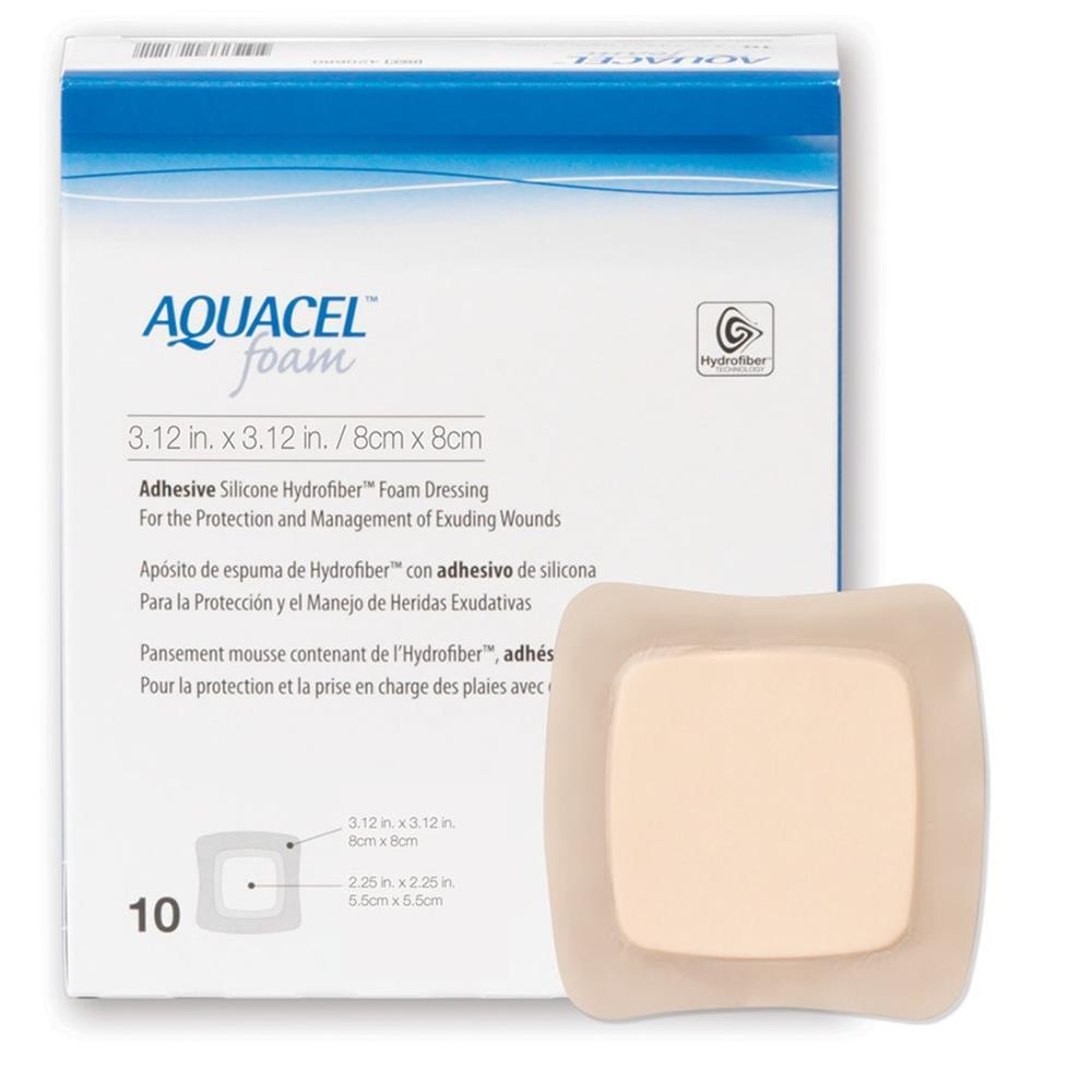 AQUACEL FOAM ADHESIVE 8CMx8CM, BOX 10