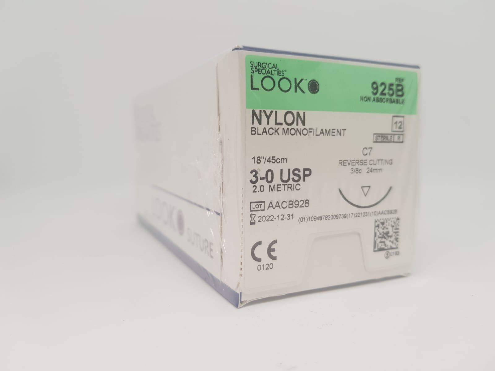 SS LOOK NYLON SUTURE 3/0 24MM 45CM BOX 12