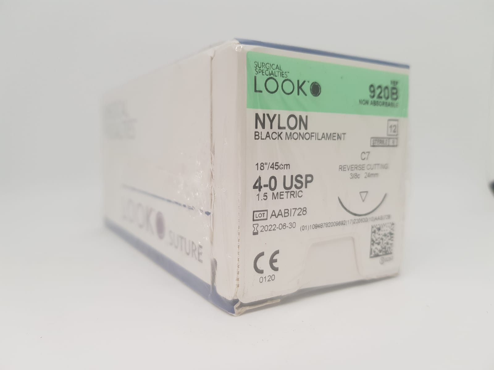 SS LOOK NYLON SUTURE 4/0 24MM 45CM, BOX 12
