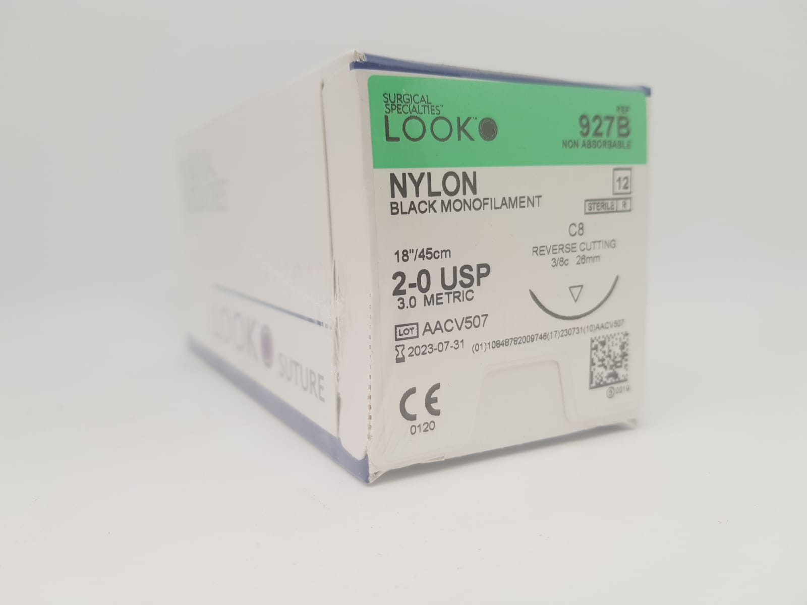 SS LOOK NYLON SUTURE 2/0 26MM 45CM, BOX 12