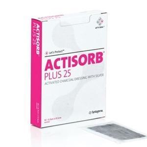 ACTISORB PLUS 25 CHARCOAL/SILVER 6.5CMx9.5CM, BOX 10