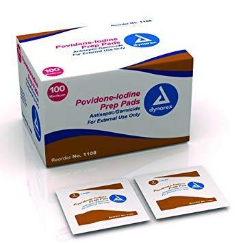 POVIDONE-IODINE ANTISEPTIC SWAB/PREP PAD BOX 100